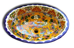 Mexican Talavera Sink 'Day of the Dead'