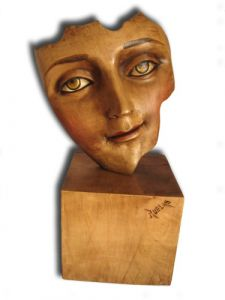 Hand Carved Wooden Sculpture 'Musing'