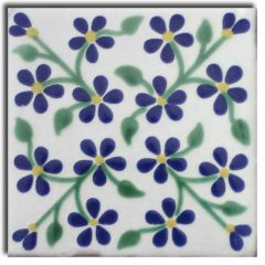 Mexican Talavera Frost Proof Tile 'Agua Dulce'