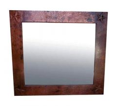 Big Mexican Copper Mirror 'Hammered Star'