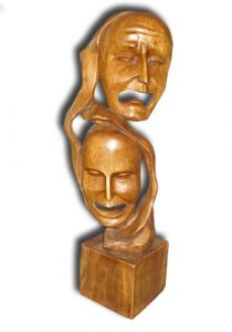 Hand Carved Wooden Sculpture 'Duality'
