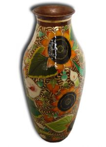 Hand Painted Copper Vase 'Sunflowers'