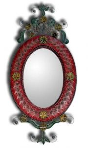 Mexican Tin Mirror Oval 'Nature of Love Red'