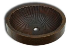 Copper Vessel Sink Round 'Grooves'